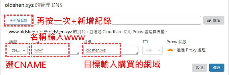 cloudflare DNS設定