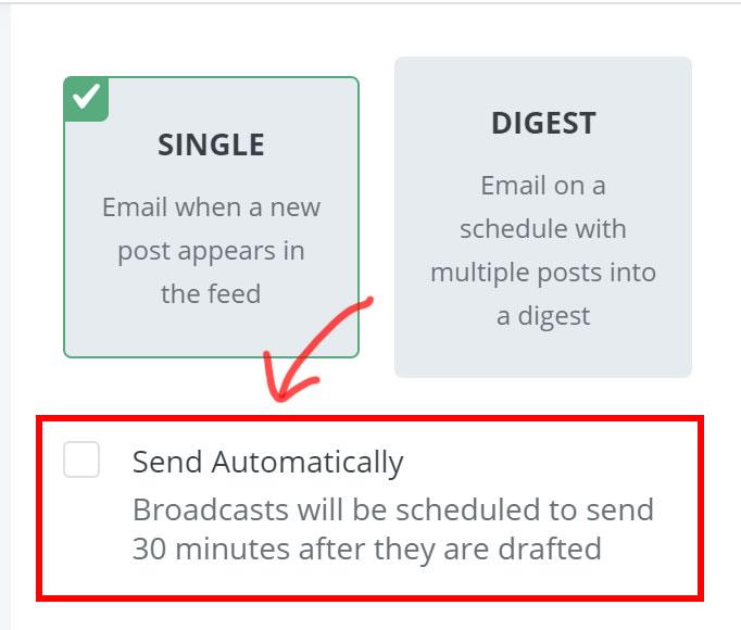 所以如果你想要 RSS 生成郵件草稿後可以自動寄出的話,記得勾選下圖的【 Send Automatically 】